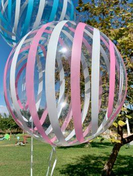 Burbuja Especial Deco rayas rosa-blanco 18