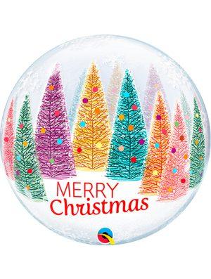 Globo Bubble Burbuja Arboles y copos de Navidad