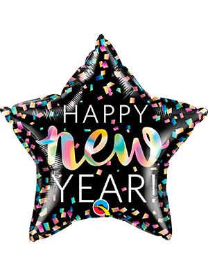 Globo foil estrella Happy New Year iridescente