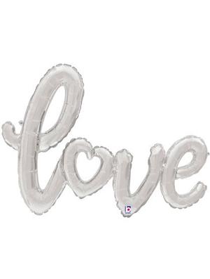Globo foil texto Love color Plata