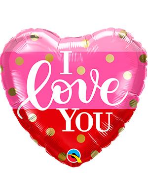 Globo foil corazón I love you dots