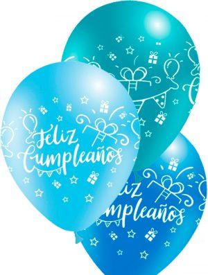 Globo látex Feliz Cumpleaños surtido Azul Special deco
