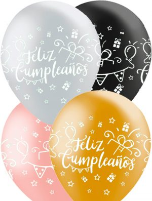 Globo látex Feliz Cumpleaños surtido Metálico Special deco