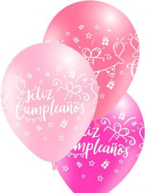 Globo látex Feliz Cumpleaños surtido Rosa Special deco