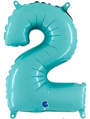 Globo foil pequeño numero Dos azul pastel