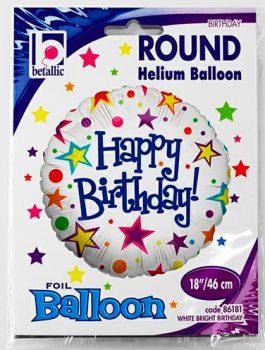 Globo foil Feliz Cumpleaños blanco con estrellas