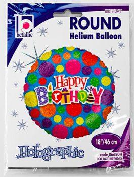Globo foil Feliz Cumpleaños con puntos de colores