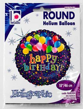Globo foil Feliz Cumpleaños con globos