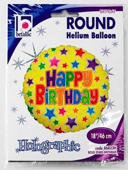 Globo foil Feliz Cumpleaños con estrellas