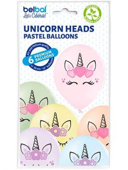 Globo látex cabeza Unicornio surtido pastel